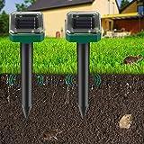 2 Piezas Repelente de Ratones Solar Ultrasónico, Ahuyentador de Topos Solar, IP65 Repelente Ultrasónico para Animales, Repelente de Topo para Jardines,Céspedes,Roedores,Serpientes, Hormigas,Topillos