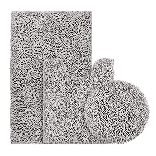 BYSURE Light Grey Bathroom Rug Set 3 Piece, Bath Rugs Toilet Rugs and Mats Sets, Extra Absorbent Shaggy Chenille Bathroom Mat Set Soft & Dry Bathroom Rugs Sets and Mats Sets Non Slip Washable Rugs