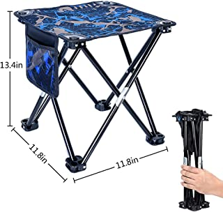 Mini Folding Stool, Portable Lightweight Outdoor Folding Chair with Carry Bag, 600D Oxford Cloth, Backpack Outdoor Chair for BBQ, Camping, Ice Fishing, Travel, Hiking, Garden, Beach,11.8