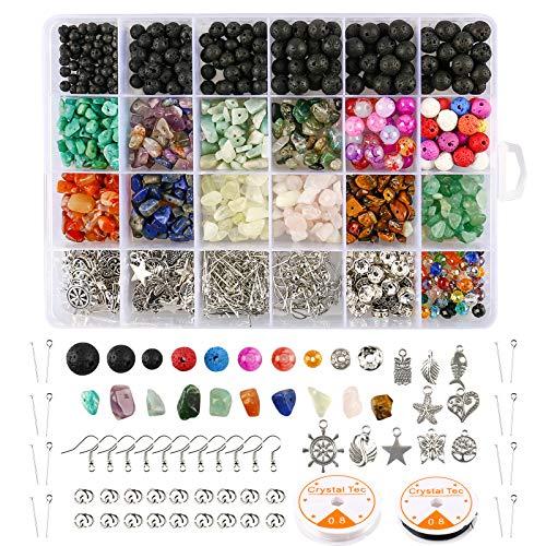 Kits de piedra de cuentas de lava, 1068pcs de cuentas de piedra de lava cuentas de piedra y chips irregulares accesorios de cuentas de piedra para pulseras suministros para hacer joyas de bricolaje