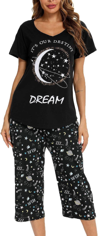 Mia Lucce Womens Pajama Set -Cute Print Tops with Capri Pants PJ Sets-2 Piece Sleepwear(M~3XL)