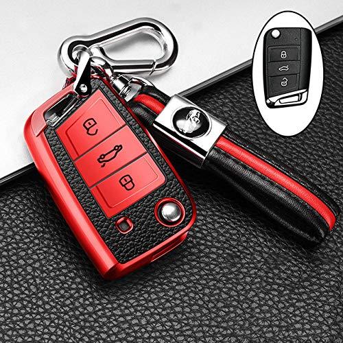 UIEMMY Cuero TPU Car Smart Key Cover Funda Completa Bolsa para Volkswagen VW Golf 7 mk7 Skoda Octavia A7 Llavero Accesorios de autopartes, B, Llavero Rojo