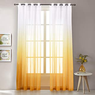 Amber Yellow Gradient Ombre Sheer Curtains 102 Inch Long for Living Room, Grommet Top Voile Bedroom Curtain Bedding Drapes,1 Panel 100