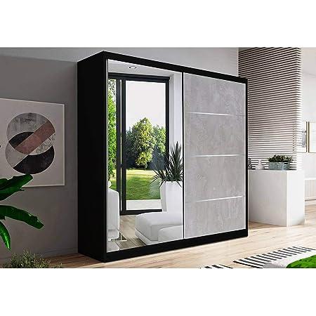 Armoire de Chambre avec 2 Portes coulissantes 1 Porte avec Miroir| Penderie (Tringle) avec étagères (LxHxP): 183x218x61 Beton (Noir)