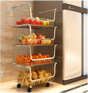 Professional Kitchen Cart Shelf,Removable Multi-layer with 4 Wheels,Stainless Steel Kitchen Rack,Household Laundry Kitchenware Basket, Fruit and Vegetables Holder Shelf,Kids Toy Room Storage Organizer