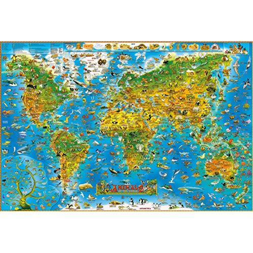 GuDoQi Puzzle 1000 Piezas Adultos Rompecabezas Madera Mapas del Mundo Animales para Infantiles Adolescentes