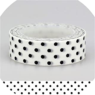 Adhesive Tape Solid Plain Color Black White Dots Set Print Scrapbooking DIY Craft Sticky Deco Masking Paper Washi Tape,4 Black Highway