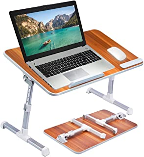 [Large Size] Neetto Height Adjustable Laptop Bed Desk, Portable Laptop Table Standing Desk, Sofa Breakfast Tray With Foldable Legs, Notebook Stand Reading Holder for Couch Floor Kids - American Cherry