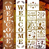 Whaline 12Pcs Large Welcome Sign Stencils Set Halloween Stencil Template DIY Design Mould Reusable Plastic Crafts for Porch Front Door of Halloween Painting Decor