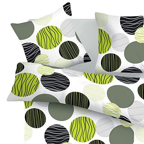 SoulBedroom Fresh Bettbezug 240x220 cm und Kissenbezüge 80x80 cm 100prozent Baumwolle mit versteckten Reißverschluss