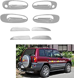 Majinz Store Car Door Handle Cover 8PCS ABS Chrome Plated Door Handle Bowl Cover for Toyota RAV4 XA10 ABS Car Styling Parts Auto Accessories