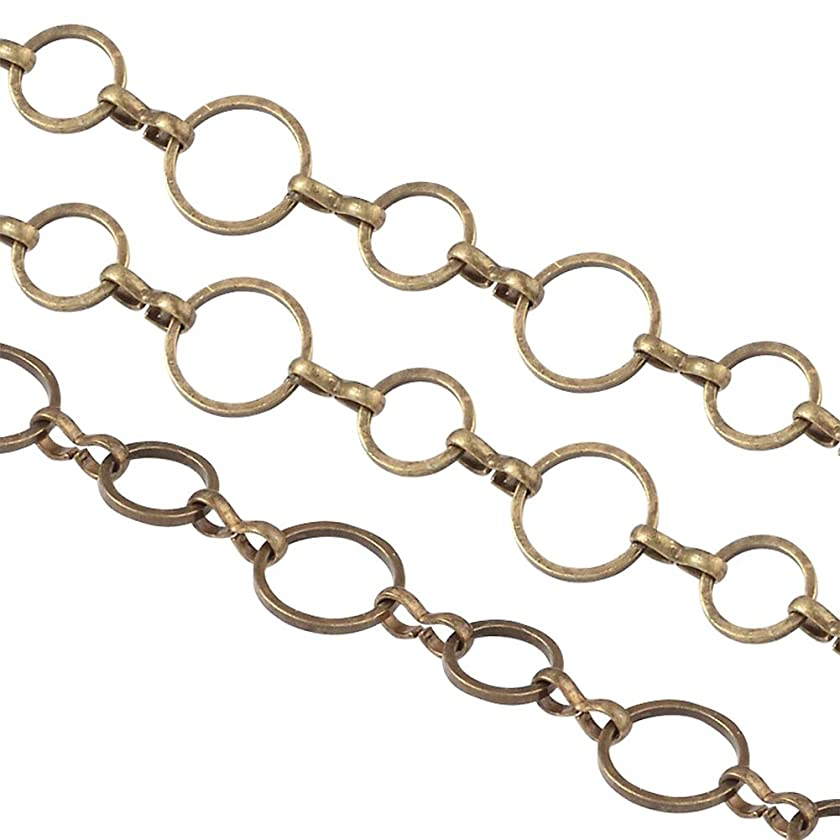 ARRICRAFT 1 Roll Bronze Brass Handmade Chains Round Ring for Necklace Key Chains DIY Craft, Ring Size: 8-10mm, About 10m/roll