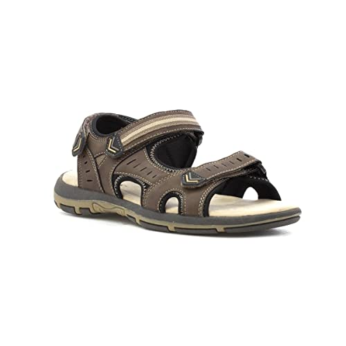 705554bfc2eb SPROX Mens Wide Fit Easy Fasten Sandal in Brown