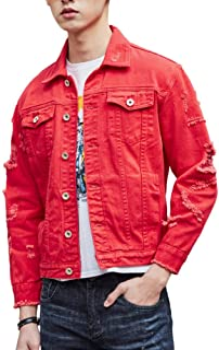 8cf267ecc38 DSDZ Men`s Retro Vintage Washed Ripped Hip Hop Motorcycle Denim Jacket