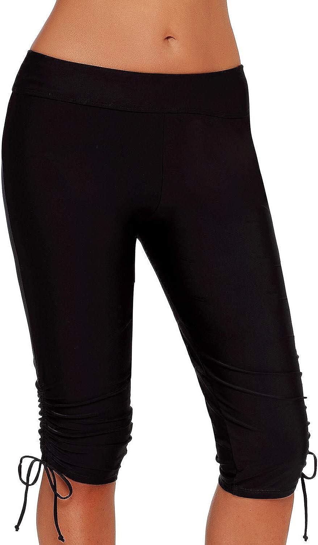 Aleumdr Womens Long Boardshort Swim Bottom High Waisted Tankini Swimwear Shorts