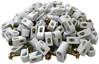 Best Connections 100 pcs Single White Mounting Flex Clips w/Strain Relief Screw RG6 RG59
