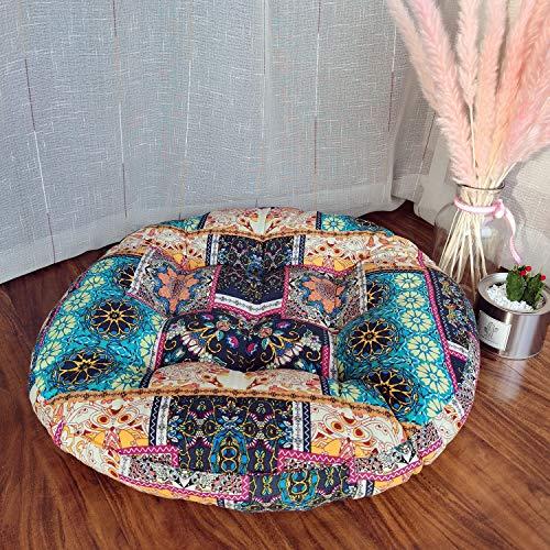 JINMURY Cojín redondo grande de 22 pulgadas Boho meditación cojines Mandala asiento indio Tatami alfombras para sala de estar, guardería, balcón, jardín, turquesa