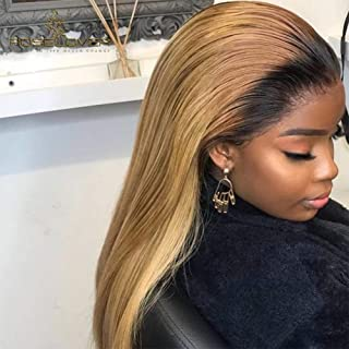 1B27 Lace Front Wigs Human Hair with Baby Hair 130% Brazilian Virgin Hair Wigs Ombre Blonde Straight 13x6 Deep Part Lace F...