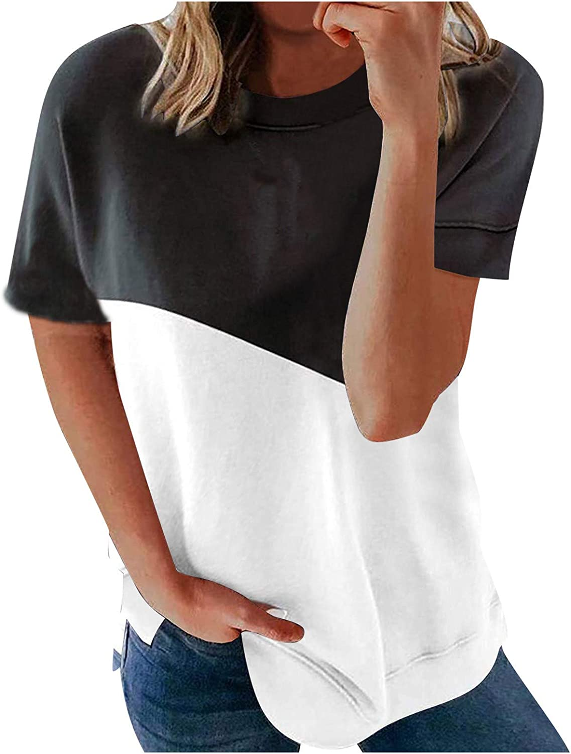 FABIURT Black Shirts for Women Dressy Plus Size Women's V-Neck Summer Casual Letters Printed Short Sleeves Graphic T-Shirt
