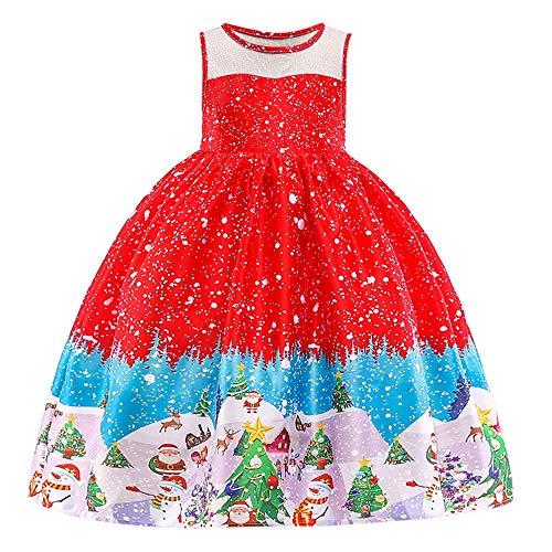 catmoew (12M-7T Kleinkind Baby Weihnachten Ärmellos Kleid Weihnachtsmann Kitz Drucken Prinzessinenkleid Kind scherzt Rock anziehen Outfits Kleider
