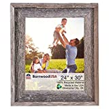 BarnwoodUSA | Farmhouse Style Rustic 24x30 Picture Frame | Signature Molding | 100% Reclaimed Wood | Rustic | Natural Weathered Gray