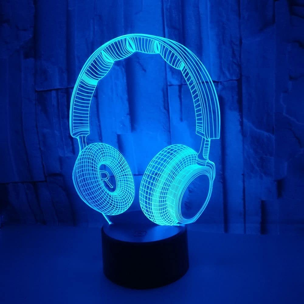 Skjfdmiy Touch Max 82% OFF 7-Color LED Night Headset-Shaped outlet Colorful Light