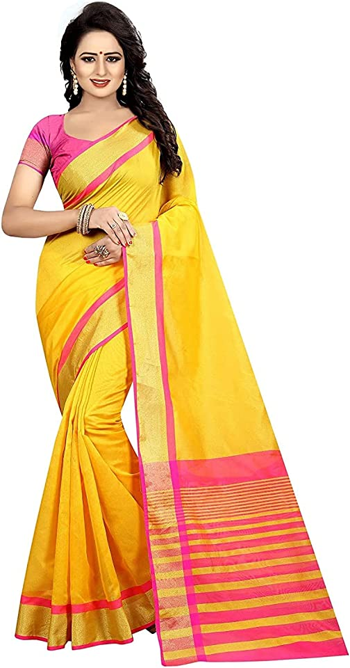Women's Yellow Cotton Silk Saree With Unstitched Blouse Piece