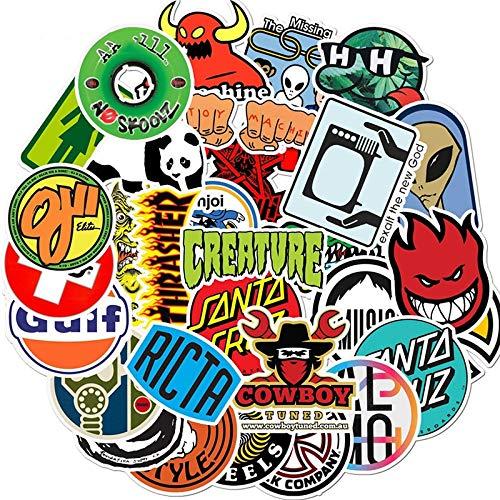 ZZHH Etiqueta engomada Impermeable del Logotipo de la Marca de Moda del monopatín Etiqueta engomada de la Bici de la Motocicleta del Ordenador portátil del Coche del Equipaje 50PCS