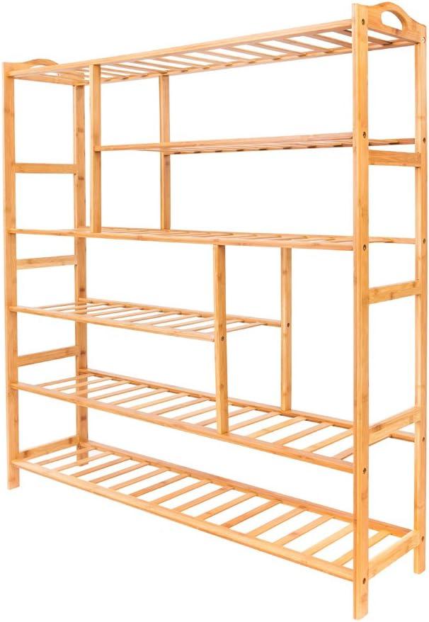 6-layer Portable Shoe Rack San Diego Mall w Bamboo Handles Shelf Multi Challenge the lowest price of Japan ☆ Splint