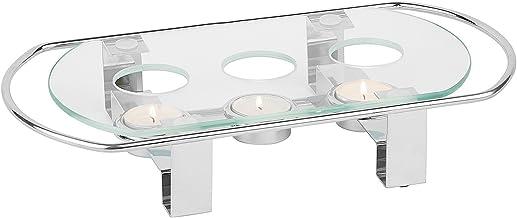 APS 35065Chauffe-Plat, 3bougies 34x 18cm, h:6cm, plateau en verre et métal chromé
