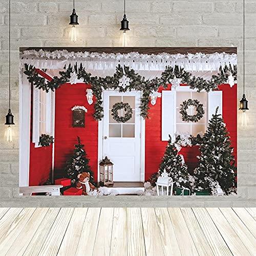 árbol de Navidad fotografía de Fondo de Pared de Madera roja Puerta Blanca Guirnalda Retrato de bebé telón de Fondo Photophone para Estudio fotográfico Vinyl-250x180cm