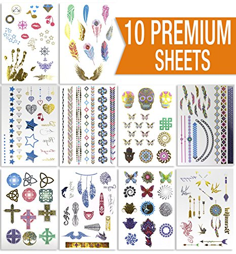 Premium Sheets - Metallic Flash Temporary Tattoos - Gold and Silver Bling with Colors