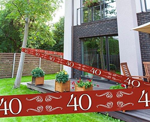 Folat Absperrband 40 ROT , PVC, ca. 15 Meter x 7,5 cm - Meterpreis Euro 0,20