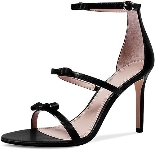 WANGXIAOLIN Sandales D'été à Talons Hauts Mot Bow Bien avec des Chaussures pour Femmes Talons Hauts (Couleur   Noir, Taille   38 EU)