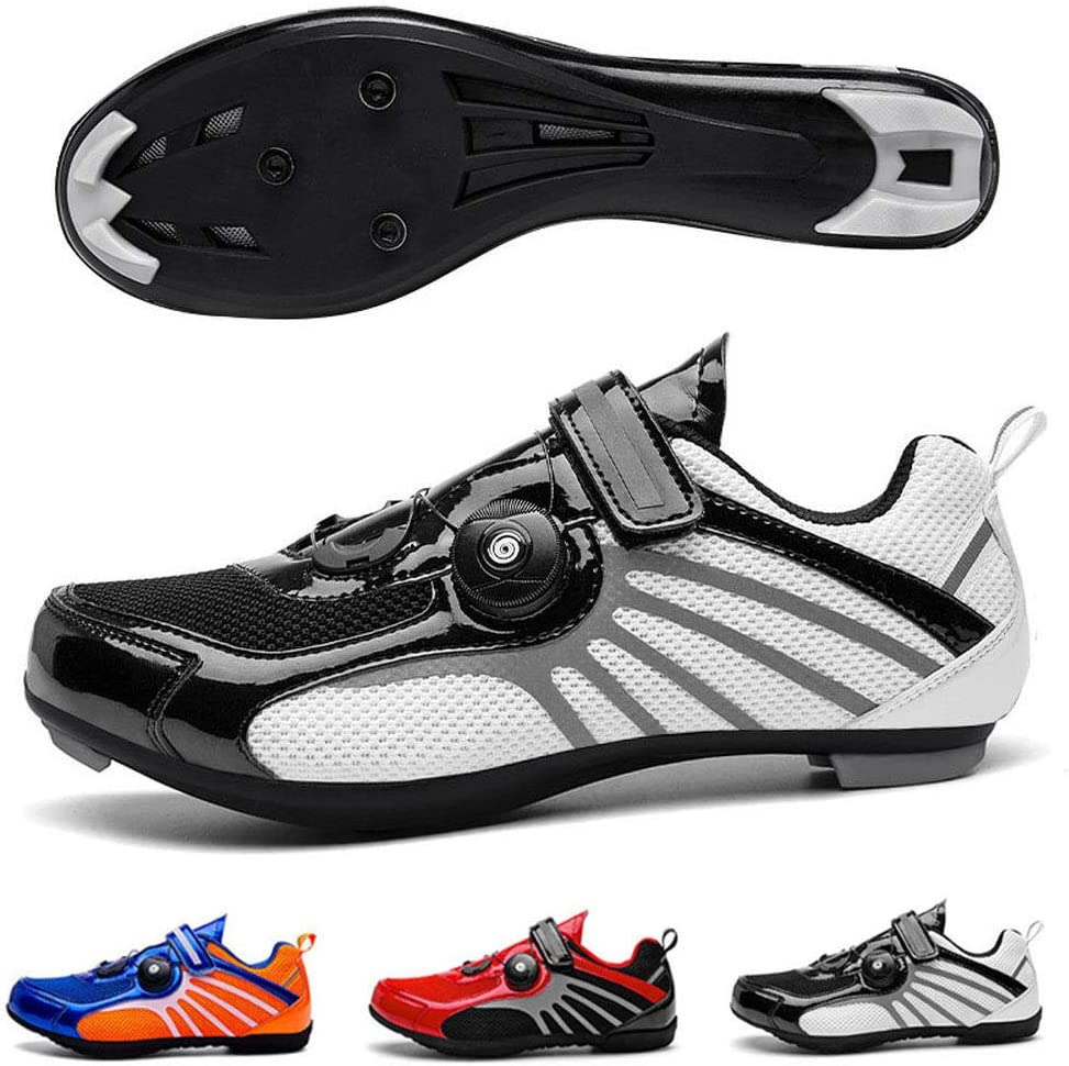 2020 New Road Cycling Shoes with Non-Slip Bottom and Reflective Design Road Bike Shoes Breathable Comfortable MTB Shoes Cycling Spin Shoe for Men Women Blue Mountain-4