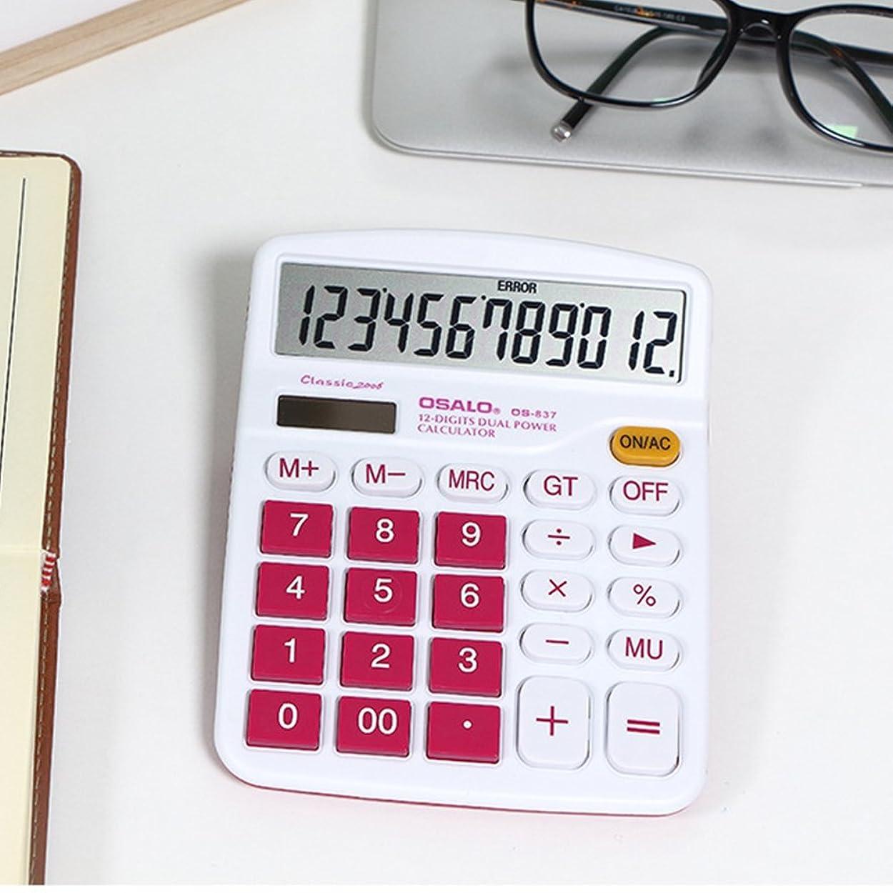 伴うアーカイブ再開etbotu 12桁カラフルなソーラーバッテリーデュアル電源ポータブルデスクトップ電卓