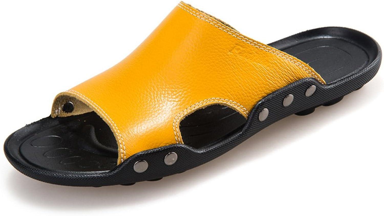 Herren Echtes Rindsleder Strand Hausschuhe Casual Sandalen Rutschfeste Sohle Sohle Sohle Schuhe,für Männer  5ff1af