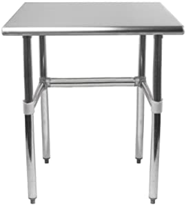 Commercial Stainless Steel Food Prep Work Table with Crossbar Open Base 18 x 24