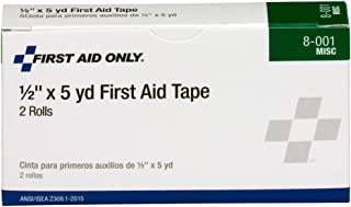 First Aid Only 8-001 Medical Adhesive Tape Roll,  2-1/2 yds Length x 1/2 Width (Box of 2)