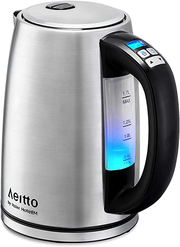 Electric Kettle Stainless Steel Variable Temperature Water Kettle Cordless Tea Heater BPA Free Fast Boiling Keep Warm Boil Dry Protection 6 Color Lights Presented 1500W 1 7L Aeitto