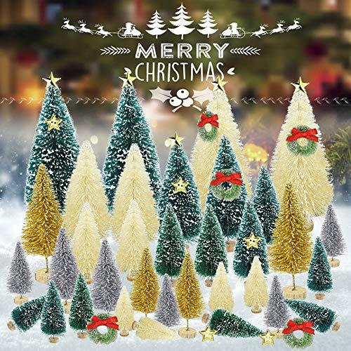 DECARETA 34 Pezzi Mini Albero di Natale, Albero Natale Piccolo da Tavolo, Mini Albero per Decorazione Bottiglia, Alberelli Natale con Neve Gelo, con15pz Accessori Decorativi