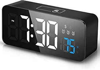 Herphia Alarm Clock, Plug in Digital Clock, 3 Alarms with Weekday/Weekend Mode, 3 Adjustable Brightness and Volume, 12/24H, Basic Alarm Clock with Battery Backup, Easy Alarm Clock for Bedroom Kitchen