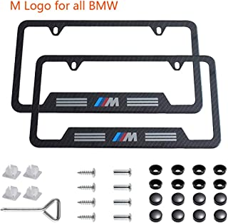jiayuandz 2pcs M Logo License Plate Stainless Steel Frame with Carbon Fiber Textured Glossy Finish Logo for BMW