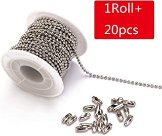 Tiparts 30 Feet Stainless Steel Ball Chains Necklace with 20pcs Connectors Clasps,Silver Bead Chain Sets (Chain Width 2.4mm+20pcs connectors)