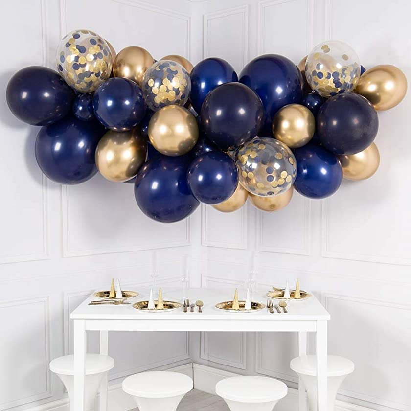 Navy Blue Balloon Garland Kit, 50PCS 12Inch Balloon Garland Including Navy Blue Chrome Gold & Confetti Balloons Decorations Backdrop Ideal for Royal Birthday Baby Shower Party Decorations