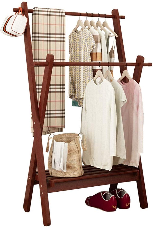 JIAYING Coat Racks Coat Rack, Floor Coat Rack Bedroom Living Room Balcony Hanger Multi-Purpose Creative Drying Rack 2 Layer Hanging Rod Side Hook Single-Layer Shelf Multifunction