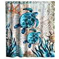 Final Friday Nautical Green Sea Turtles Beach Theme Fabric Shower Curtain Sets Bathroom Blue Ocean Decor with Hooks Waterproof Washable 70 x 70 inches Teal