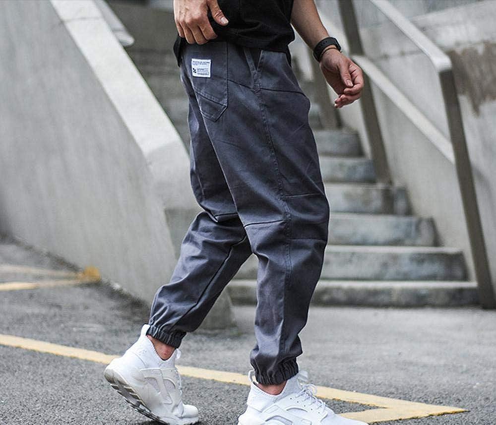 Meaeo Vintage Mode Hommes Jeans Jogger Pantalon Taille Élastique Boucle Loose Fit Pantalon Cargo Kaki Noir Couleur Hip Hop Jeans Gray