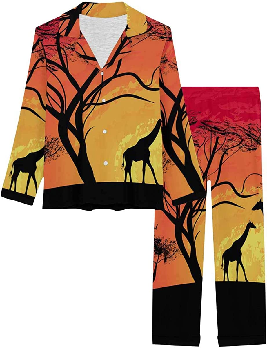 InterestPrint Women's Pajamas Set Long Sleeve with Long Pants XS-XXL Silhouette of a Giraffe, Sunset in Africa