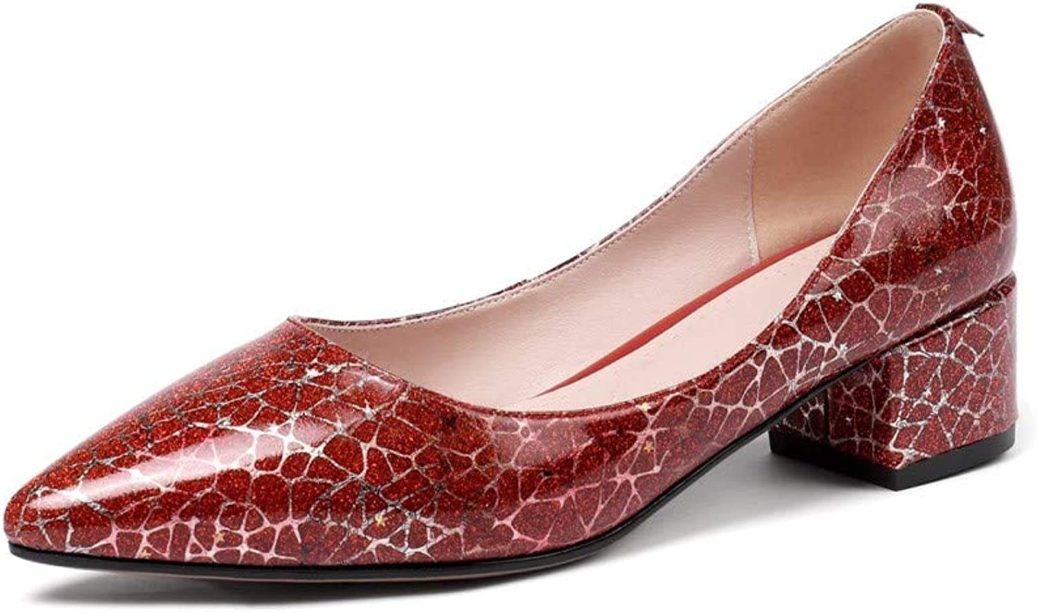 Nine Seven Women's Genuine Leather Clear Pointed Toe Low Chunky Heel Handmade Graceful Work Pump shoes